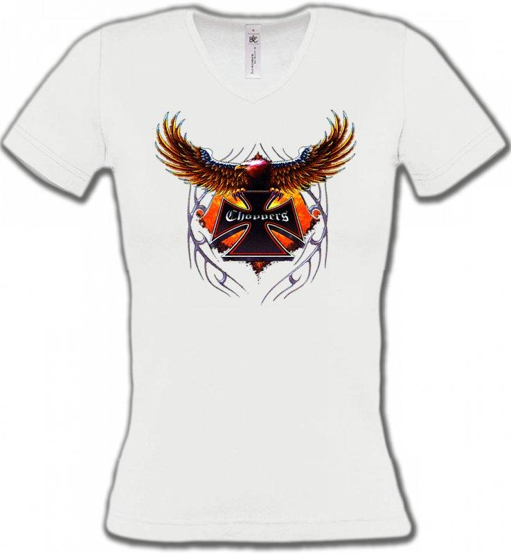 T-Shirts Col V FemmesTribal Métal CeltiqueCroix choppers et ailes (Bikers)