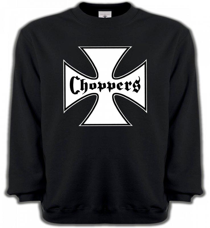 Sweatshirts UnisexeTribal Métal CeltiqueCroix Choppers blanche (Bikers)
