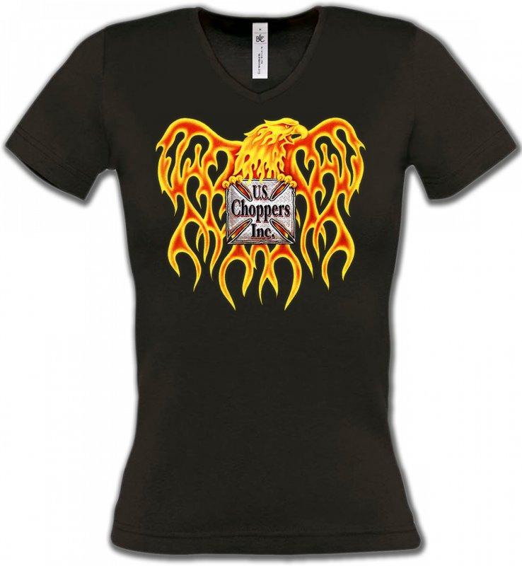 T-Shirts Col V FemmesAiglesChoppers Aigle US Choppers