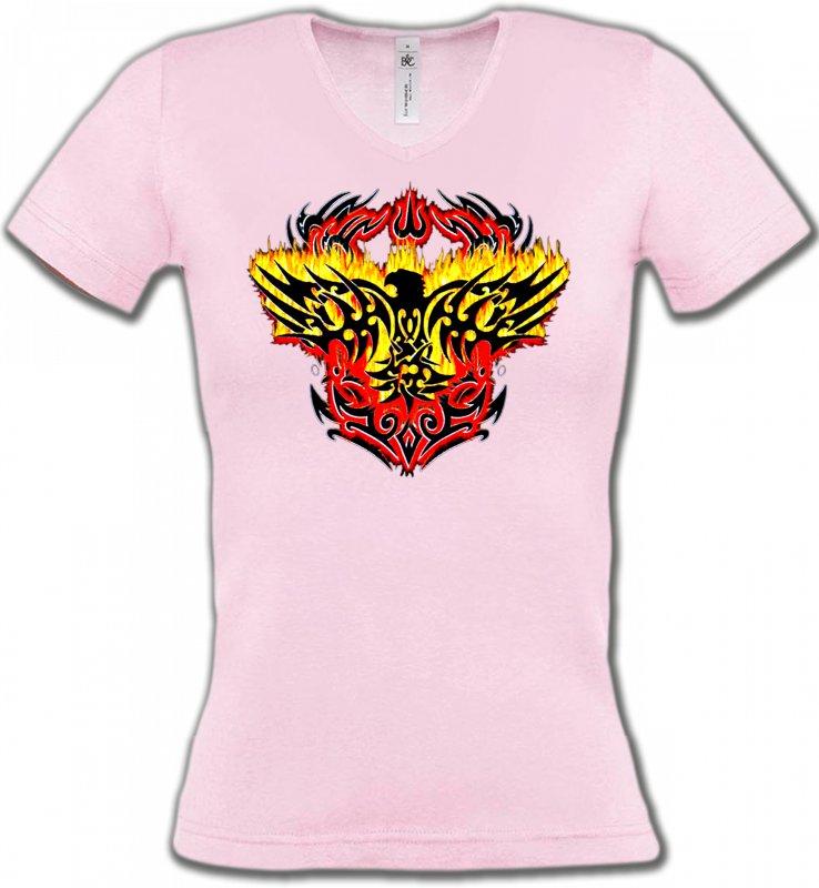 T-Shirts Col V FemmesAiglesAigle tribal aigle flamme