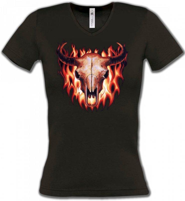 T-Shirts Col V FemmesIndien et AmérindiensCrâne de taureau (V)