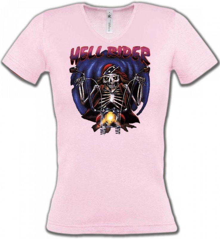 T-Shirts Col V FemmesMotosMotard de l'enfer (B2)