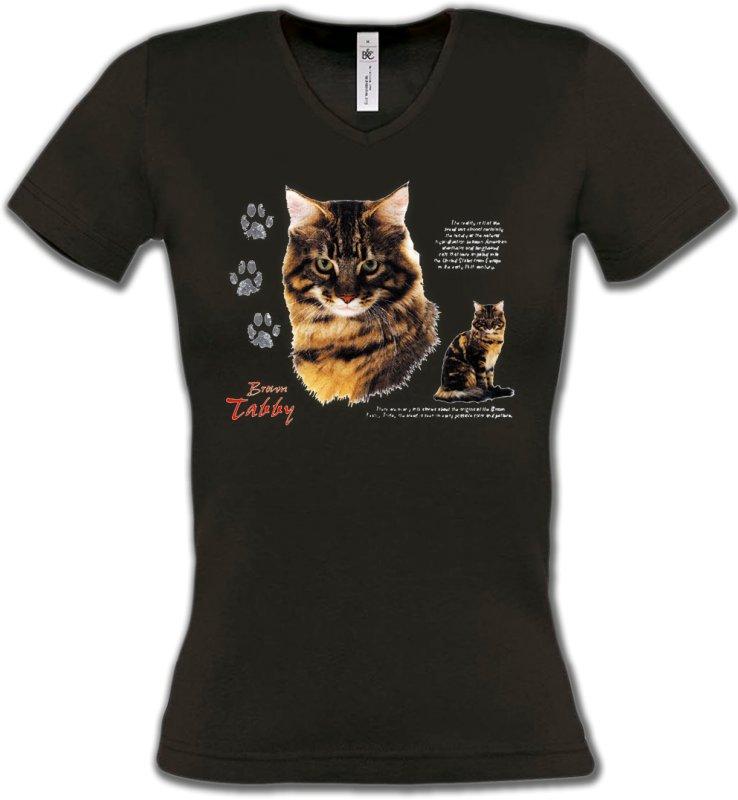 T-Shirts Col V FemmesRaces de chatsChat tigré brun (Q)