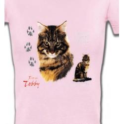 T-Shirts T-Shirts Col V Femmes Chat tigré brun (Q)
