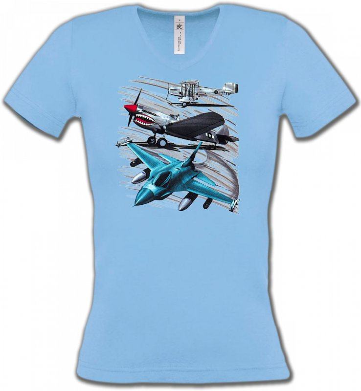 T-Shirts Col V FemmesAvionsAvions