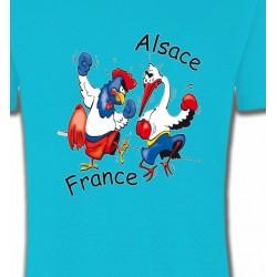 T-Shirts Humour/amour coq France  cigogne Alsace