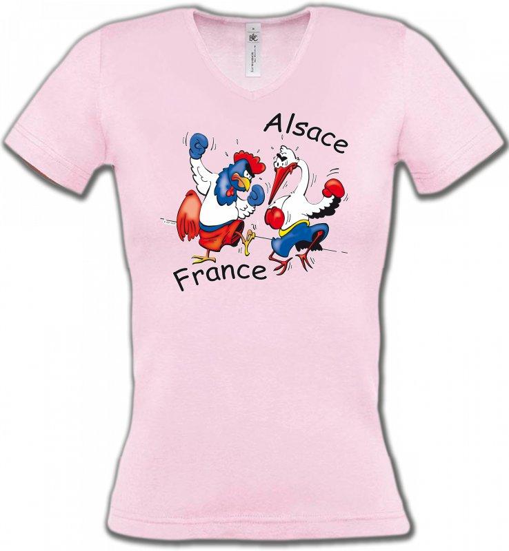 T-Shirts Col V FemmesHumour/amourcoq France  cigogne Alsace