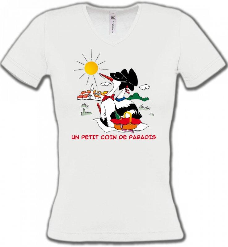 T-Shirts Col V FemmesAlsace  souvenirT-Shirt Un petit coin de paradis Alsace