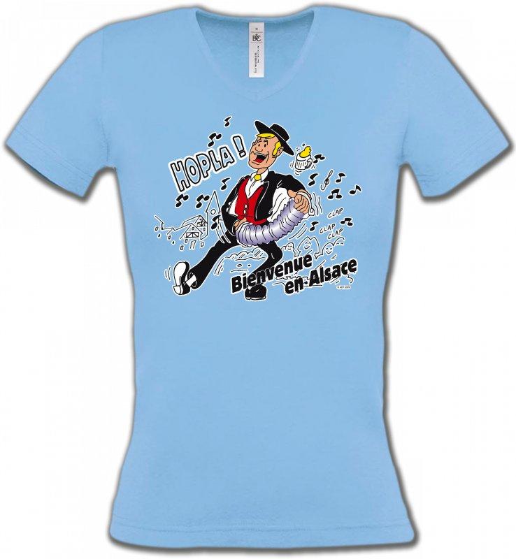 T-Shirts Col V FemmesAlsace  souvenirHopla Bienvenue en Alsace