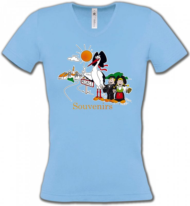 T-Shirts Col V FemmesAlsace  souvenirSouvenirs Alsace