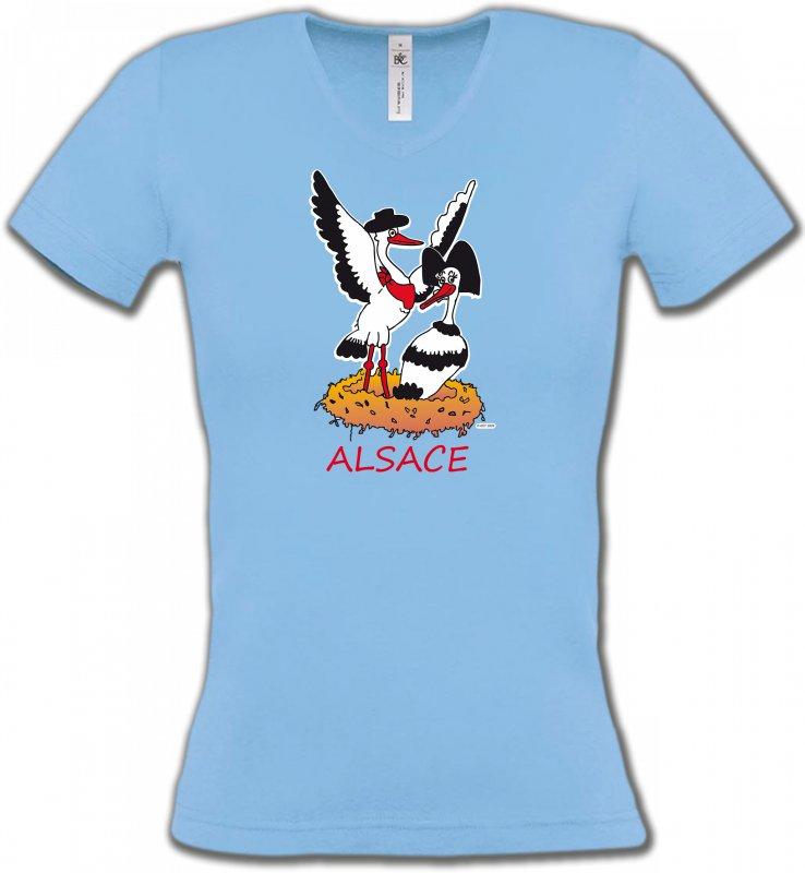 T-Shirts Col V FemmesAlsace  souvenirNid de Cigogne