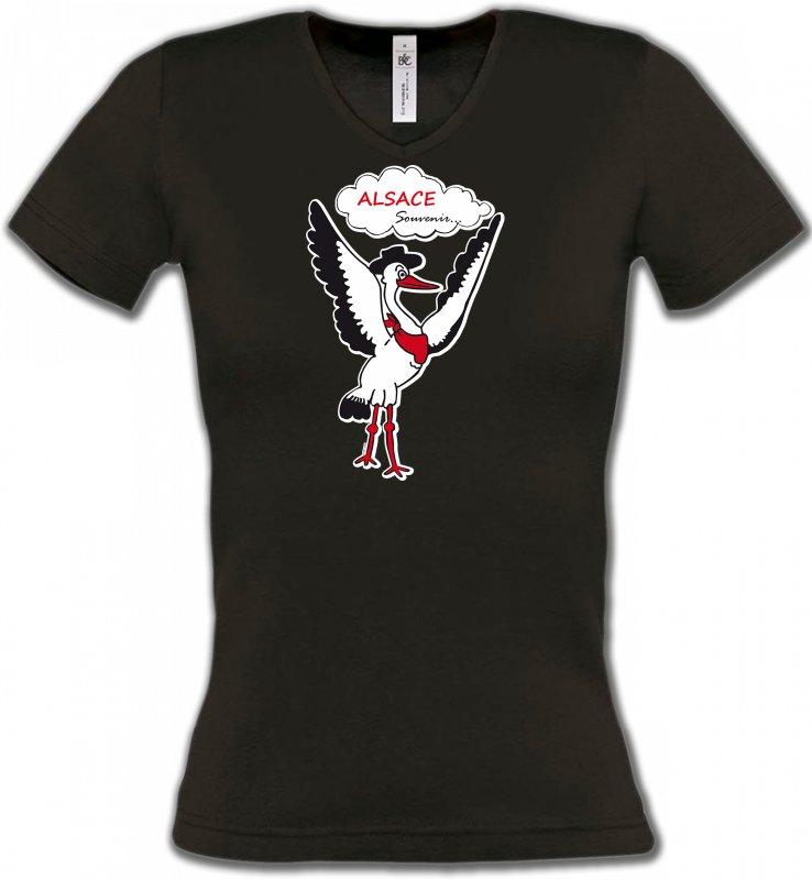 T-Shirts Col V FemmesAlsace  souvenirCigogne Alsace Souvenirs