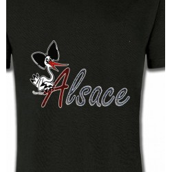 T-Shirts Alsace  souvenir Cigogne à la coiffe Alsacienne