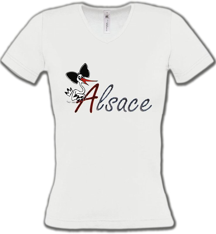 T-Shirts Col V FemmesAlsace  souvenirCigogne à la coiffe Alsacienne