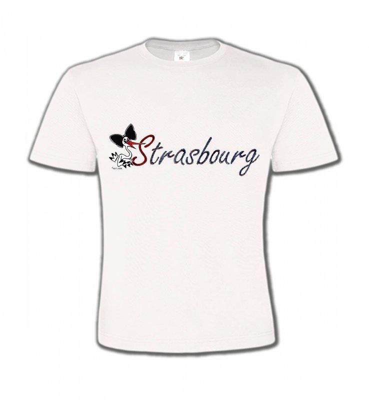 T-Shirts Col Rond EnfantsAlsace  souvenirStrasbourg et Cigogne