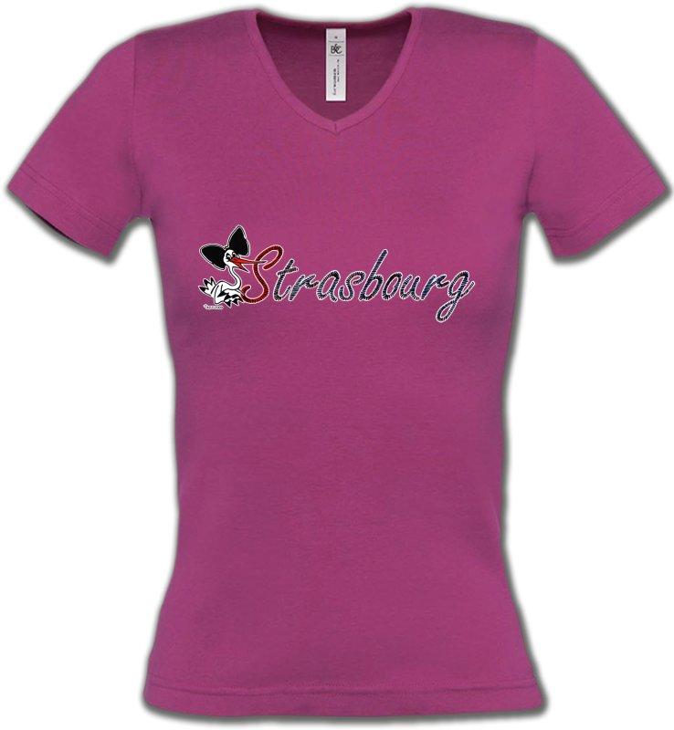T-Shirts Col V FemmesAlsace  souvenirStrasbourg et Cigogne