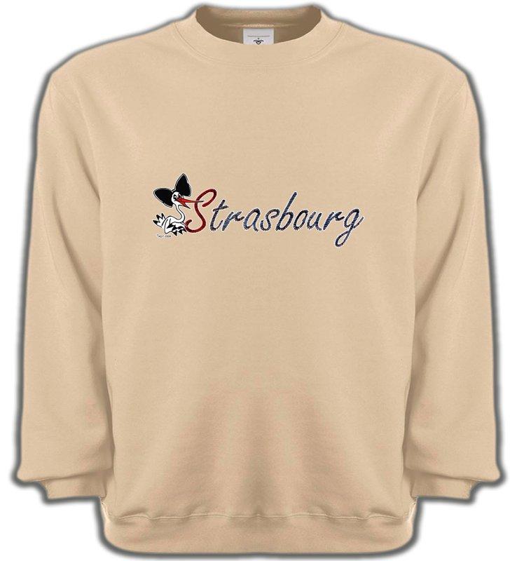 Sweatshirts UnisexeAlsace  souvenirStrasbourg et Cigogne