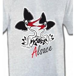T-Shirts Alsace  souvenir Deux cigognes avec coiffes alsaciennes