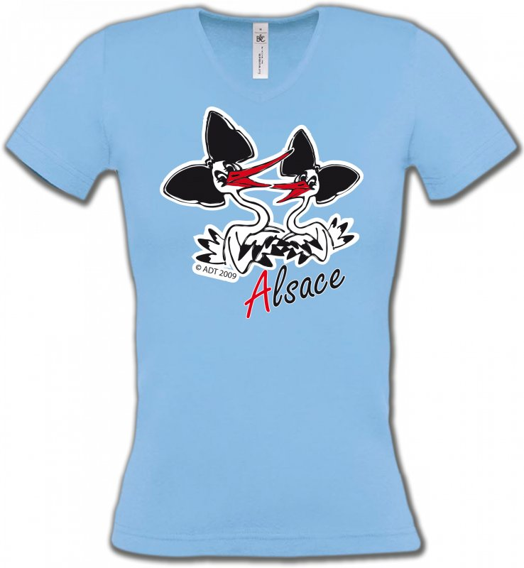 T-Shirts Col V FemmesAlsace  souvenirDeux cigognes avec coiffes alsaciennes