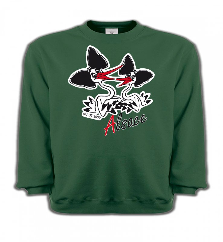 Sweatshirts EnfantsAlsace  souvenirDeux cigognes avec coiffes alsaciennes