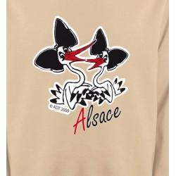 Sweatshirts Alsace  souvenir Deux cigognes avec coiffes alsaciennes