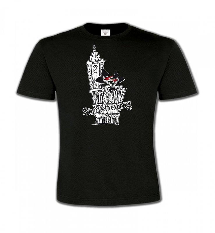 T-Shirts Col Rond EnfantsAlsace  souvenirT-Shirt Cathédrale de Strasbourg avec cigognes
