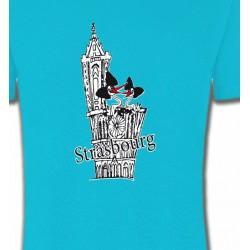 T-Shirts Alsace  souvenir T-Shirt Cathédrale de Strasbourg avec cigognes
