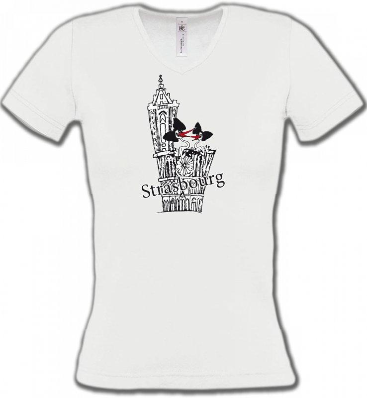 T-Shirts Col V FemmesAlsace  souvenirT-Shirt Cathédrale de Strasbourg avec cigognes