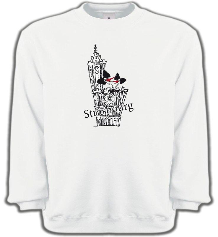 Sweatshirts UnisexeAlsace  souvenirT-Shirt Cathédrale de Strasbourg avec cigognes