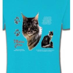 T-Shirts T-Shirts Col Rond Enfants Chat Maine Coon gris (M)