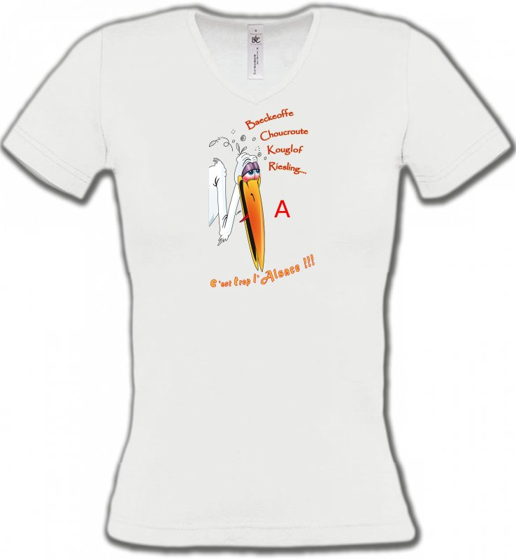 T-Shirts Col V FemmesHumour/amourCigogne fêtarde gourmande