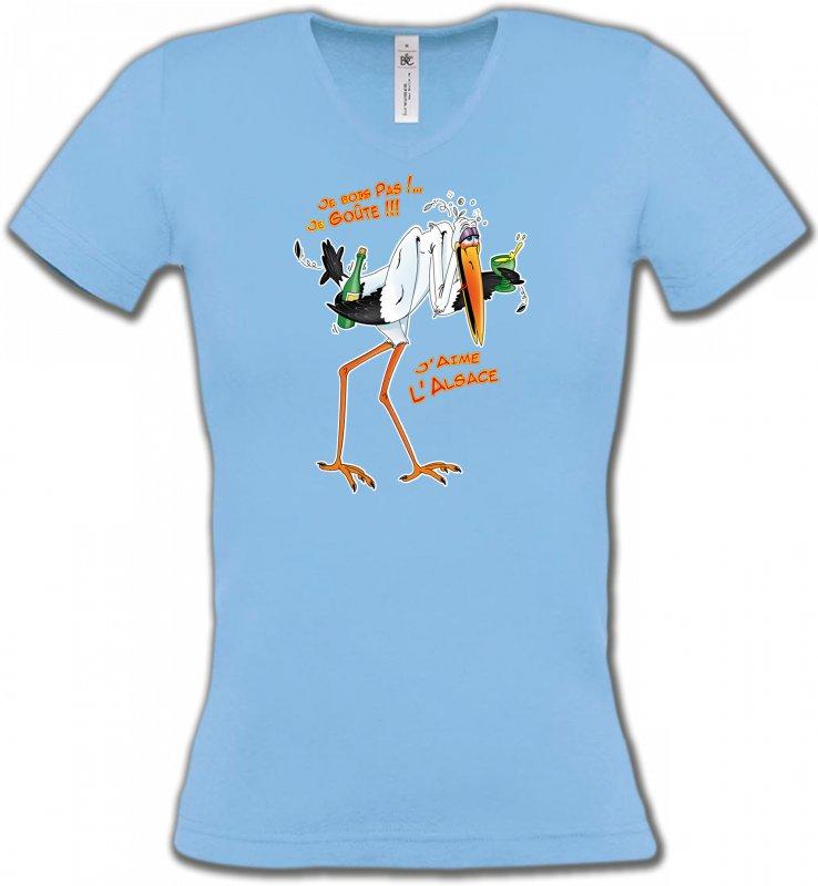 T-Shirts Col V FemmesHumour/amourCigogne J'aime l'Alsace