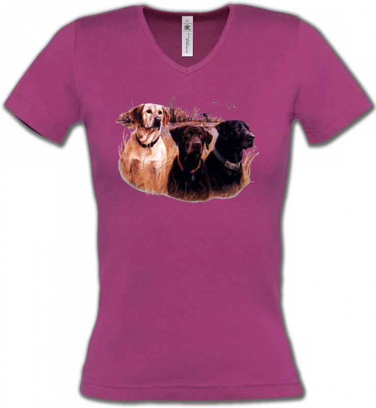 T-Shirts Col V FemmesChasseTrois chiens de chasse