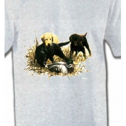 T-Shirts Chasse Labradors qui jouent (Y)