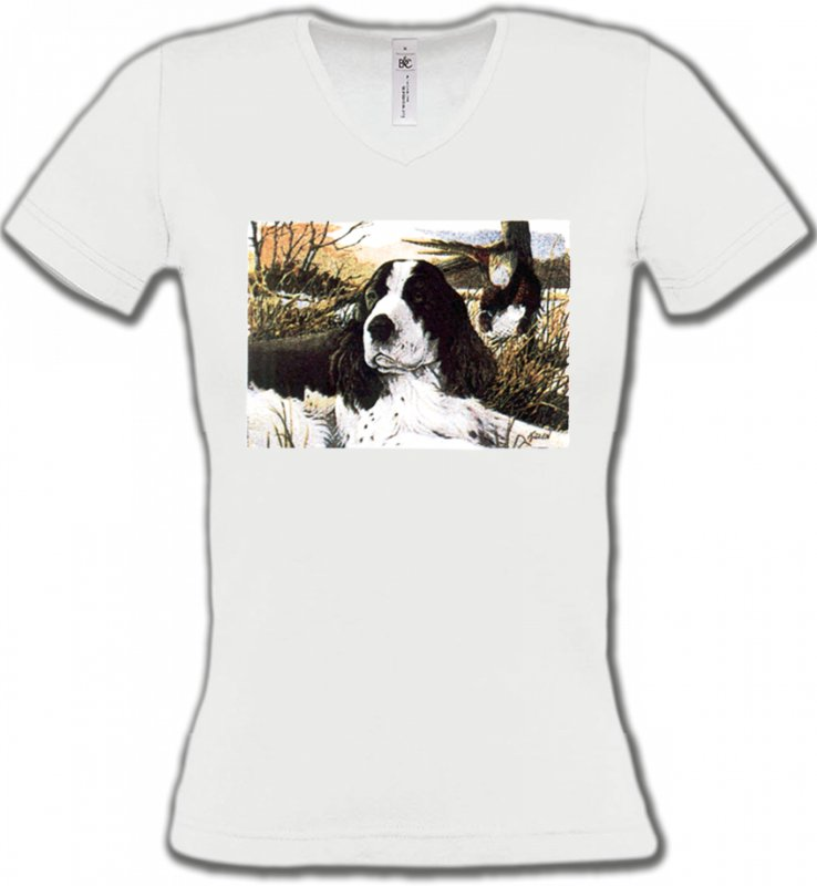 T-Shirts Col V FemmesCockerCocker dans l'herbe (M)