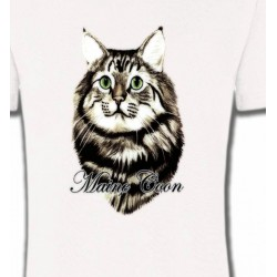 T-Shirts T-Shirts Col Rond Enfants Chat Maine Coon (A)