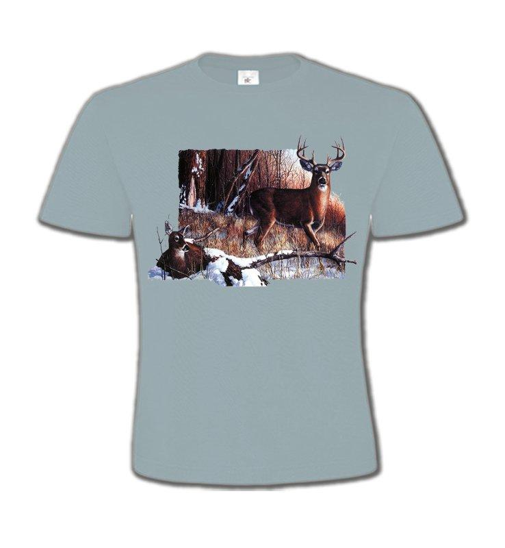 T-Shirts Col Rond EnfantsChasseUn cerf et sa biche