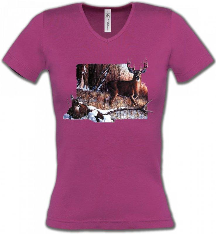 T-Shirts Col V FemmesChasseUn cerf et sa biche