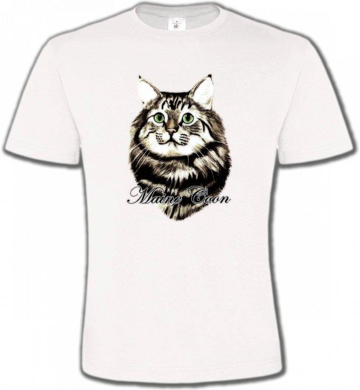 T-Shirts Col Rond UnisexeRaces de chatsChat Maine Coon (A)