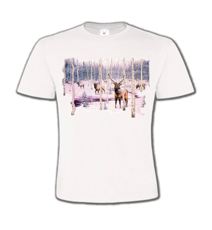 T-Shirts Col Rond Enfants Chasse Cerf neige