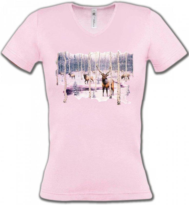 T-Shirts Col V FemmesChasseCerf neige
