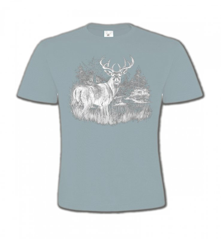 T-Shirts Col Rond Enfants Chasse Cerf (blanc)