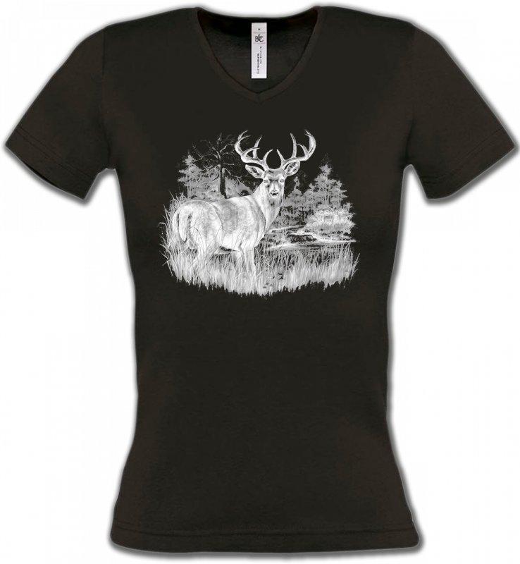 T-Shirts Col V FemmesChasseCerf (blanc)