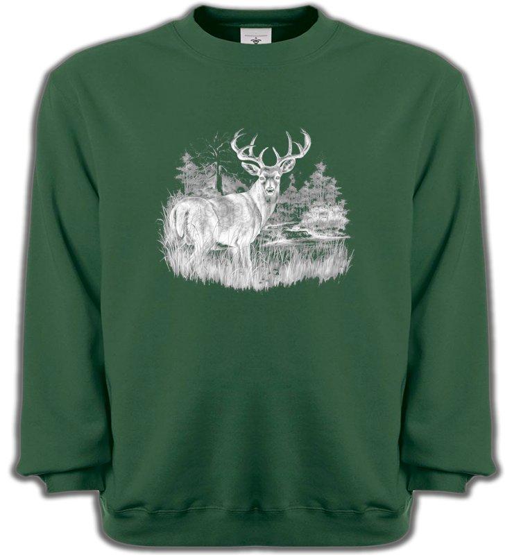 Sweatshirts UnisexeChasseCerf (blanc)