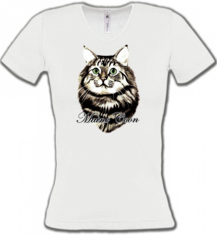 T-Shirts Col V FemmesRaces de chatsChat Maine Coon (A)