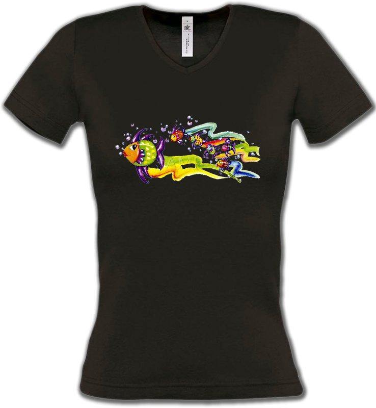 T-Shirts Col V FemmesPêchePoissons