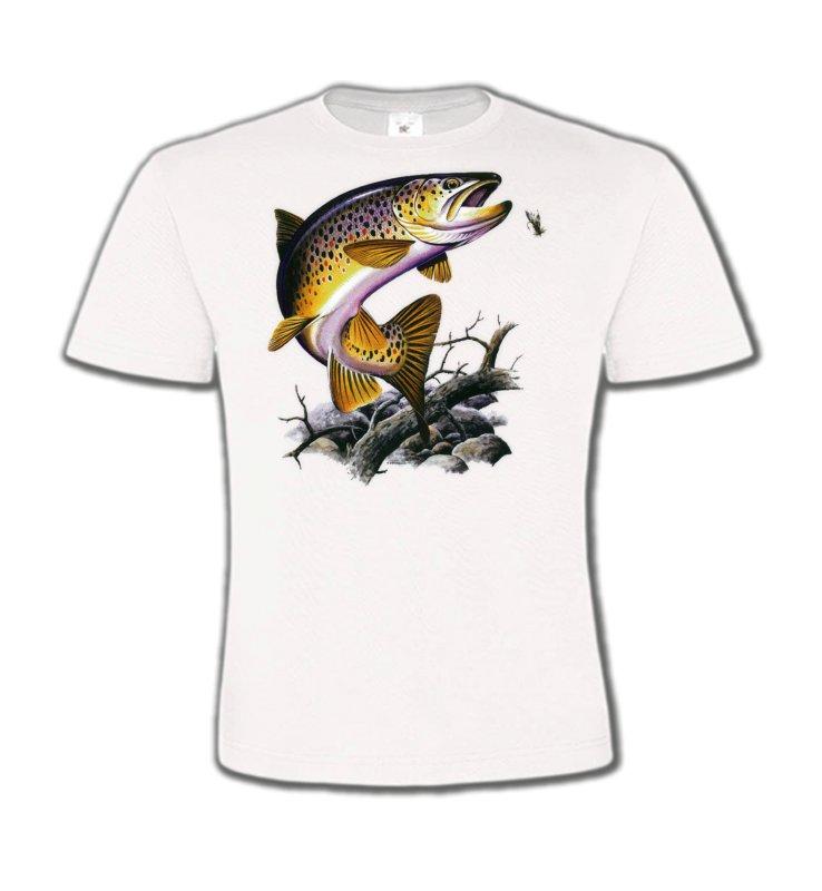 T-Shirts Col Rond EnfantsPêcheTruite saumonée