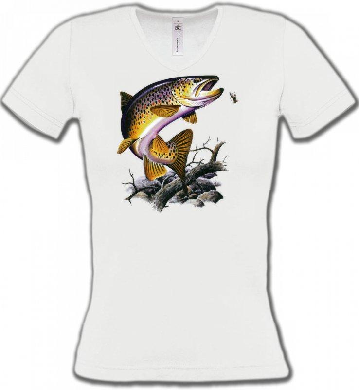 T-Shirts Col V FemmesPêcheTruite saumonée