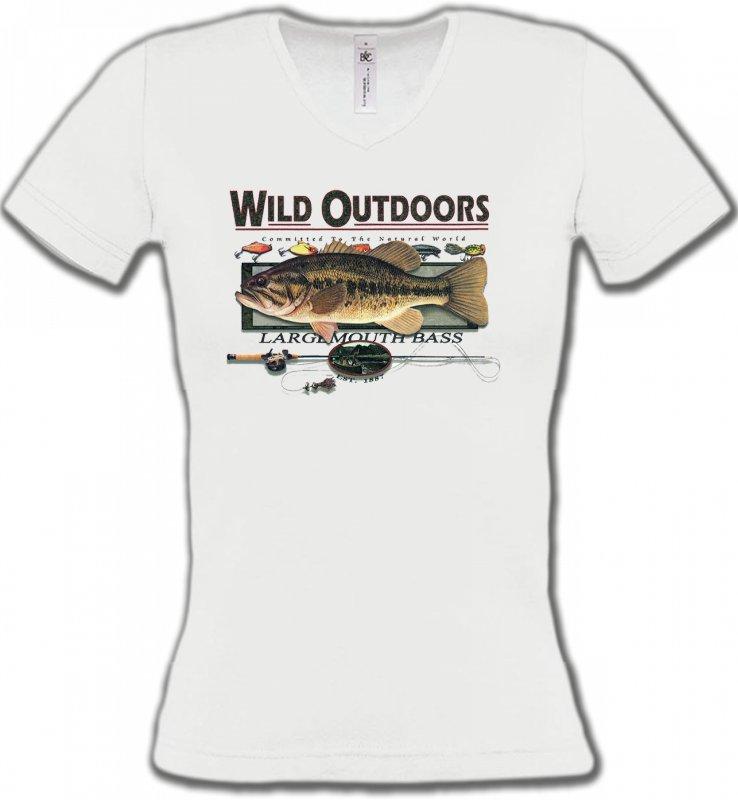 T-Shirts Col V FemmesPêcheTrophée de pêche