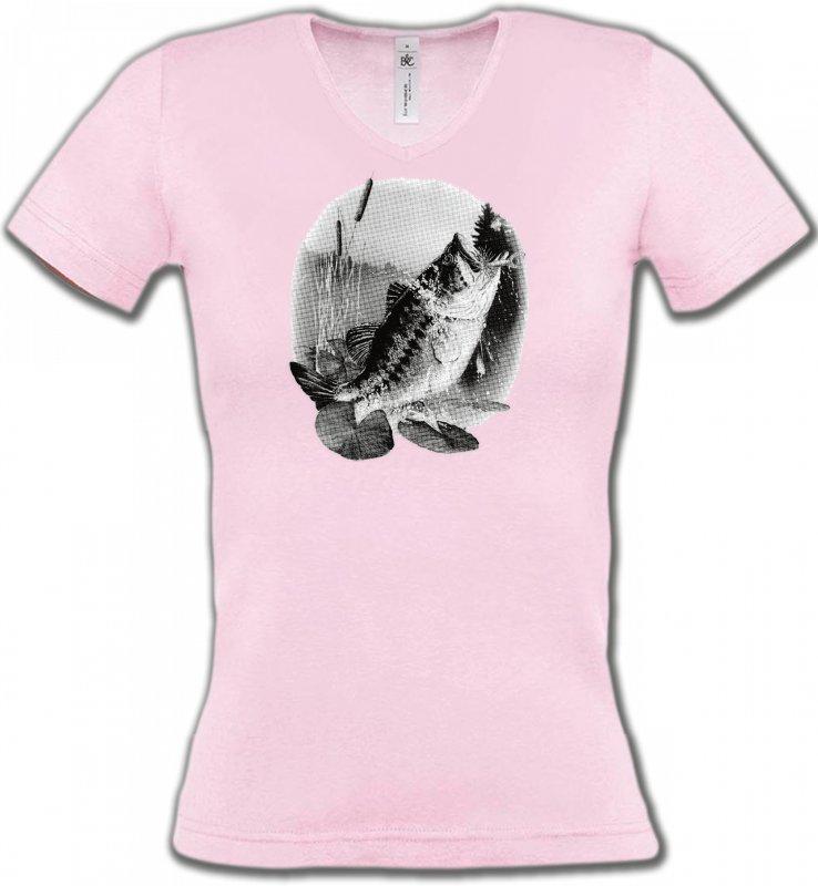 T-Shirts Col V FemmesPêchePoisson mord a l'ameçcon (E)